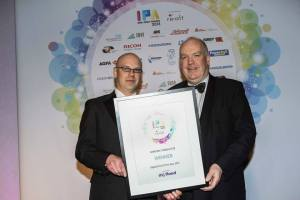 Phil Schueler from MJ Flood presenting the Award for Digital Print of the Year 2013 to Frank Kelly from Lettertec Ireland Ltd
